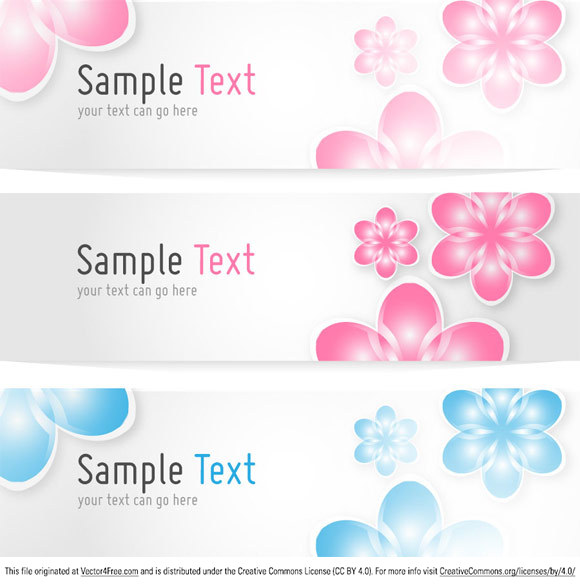 580x585 Free Floral Banners Vector Template