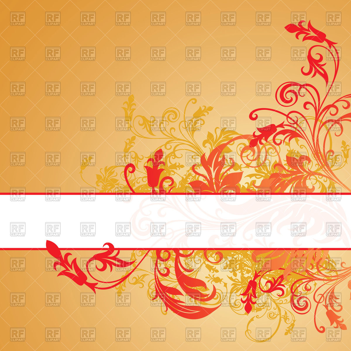 1200x1200 Orange Curly Floral Background With Banner Vector Image Vector