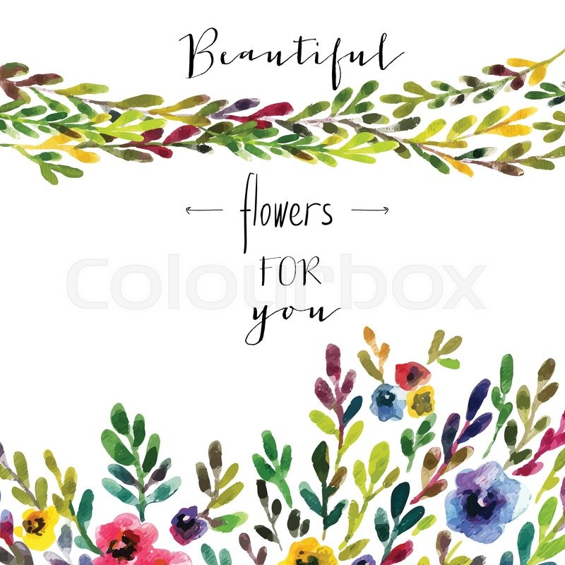 800x800 Vector Floral Card. Colorful Floral Banner With Leaves And Flowers
