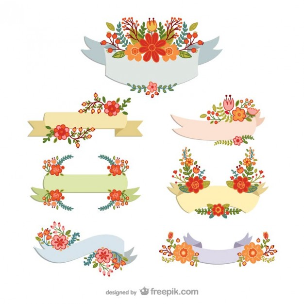 626x626 Colorful Floral Banners Vector Free Download