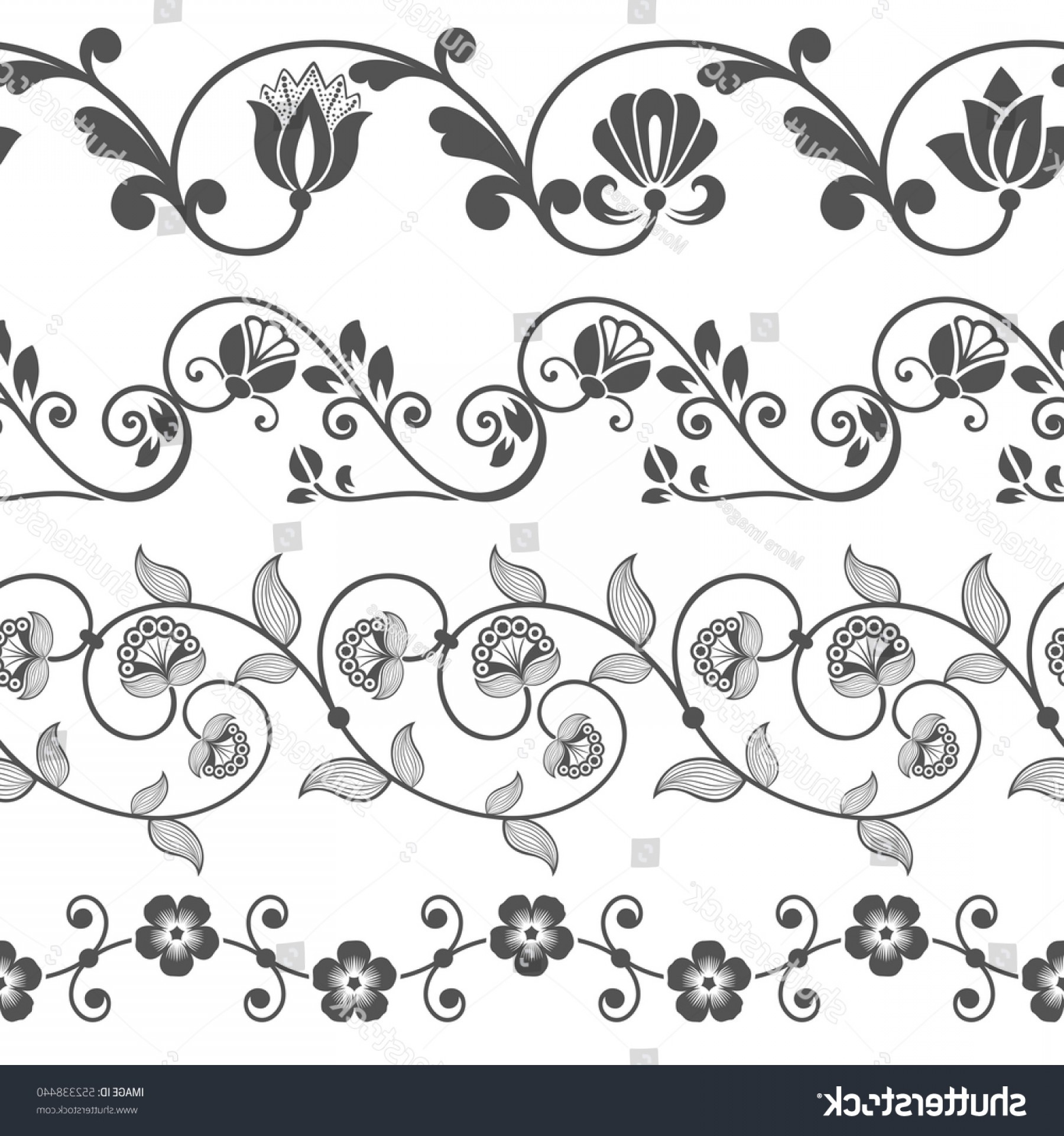 1800x1920 Seamless Floral Border Vector Template Flower Shopatcloth