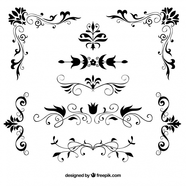 626x626 Set Of Hand Drawn Decorative Floral Borders Vector Free Download