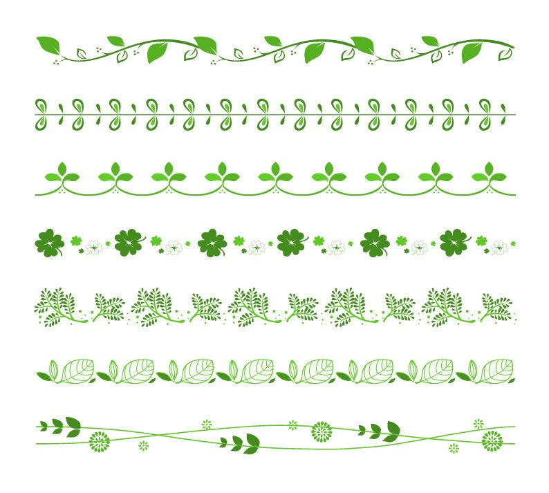 794x713 Vector Set Of Green Floral Border Free Vector Graphics All