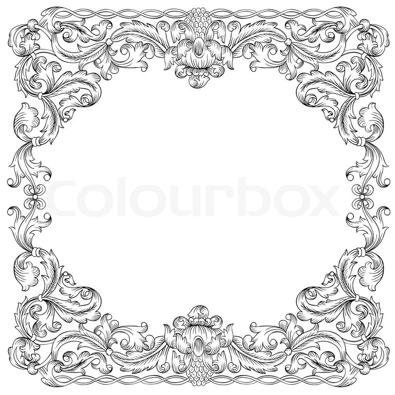 800x800 Vintage Floral Border, Vector Stock Vector Colourbox