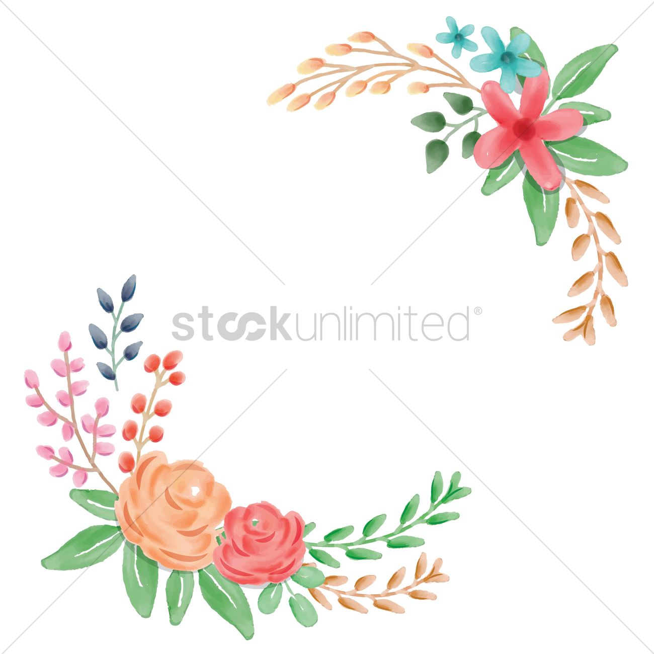 1300x1300 Floral Frame Corner Vector Image
