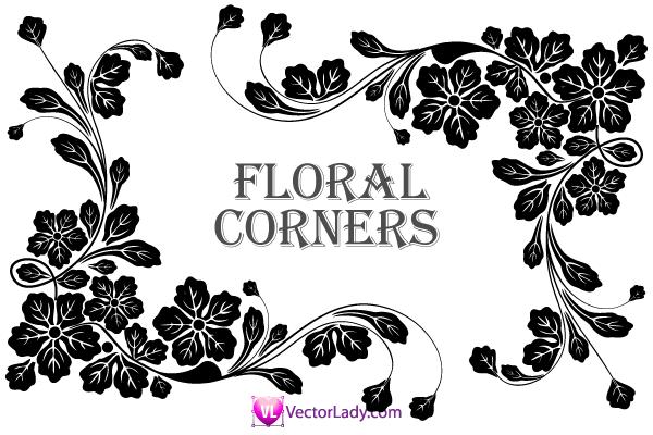600x400 Flower Corner Vector Clip Art Free Vectors Clip