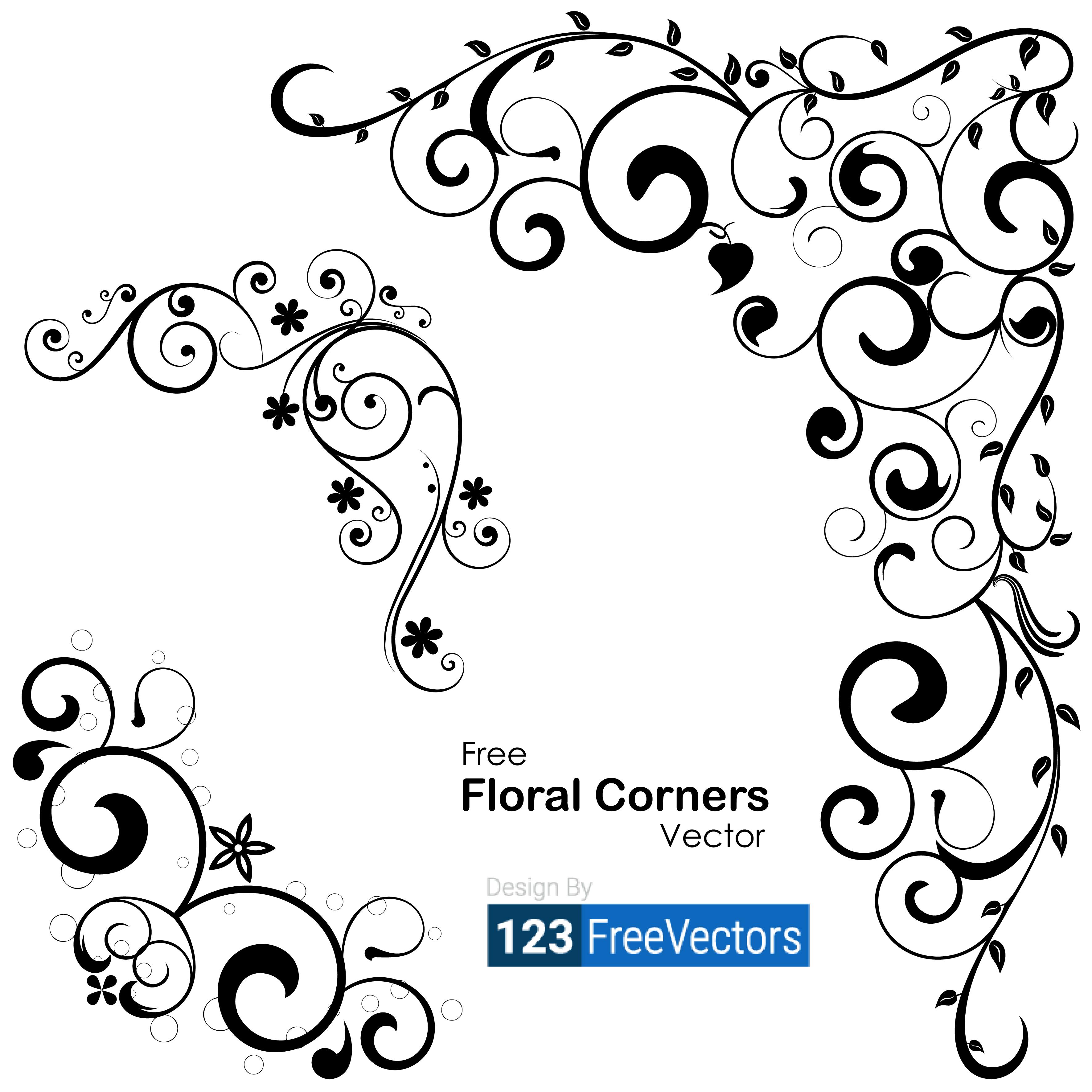 3542x3542 Vector Floral Corners 123freevectors
