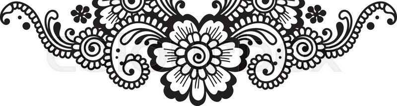 800x214 White Flower Corner, Lace Ornament Stock Vector Colourbox