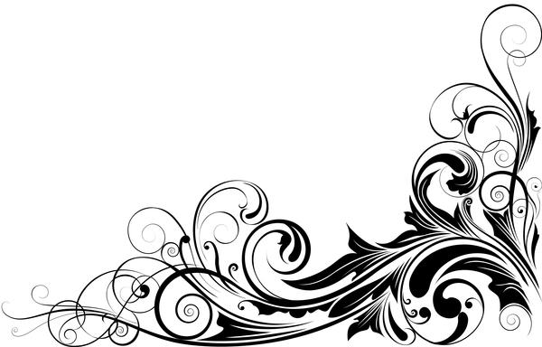 600x384 Black Floral Corner Ornaments Vector Free Download
