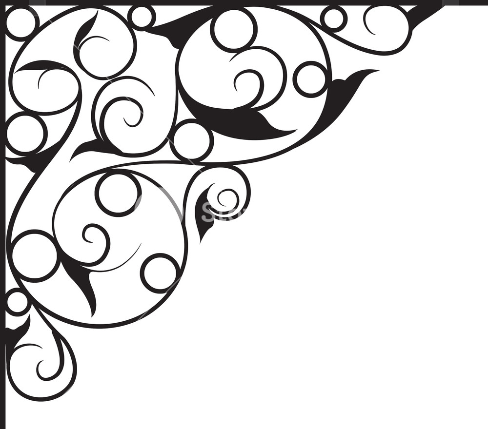 1000x880 Floral Corner Vector Element Royalty Free Stock Image