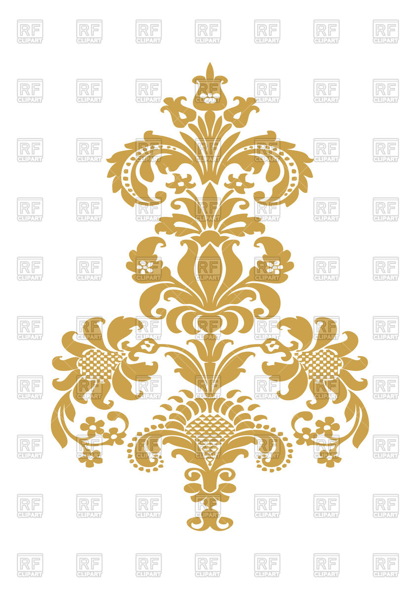 850x1200 Stylized Floral Design Element With Golden Flower Vector Image