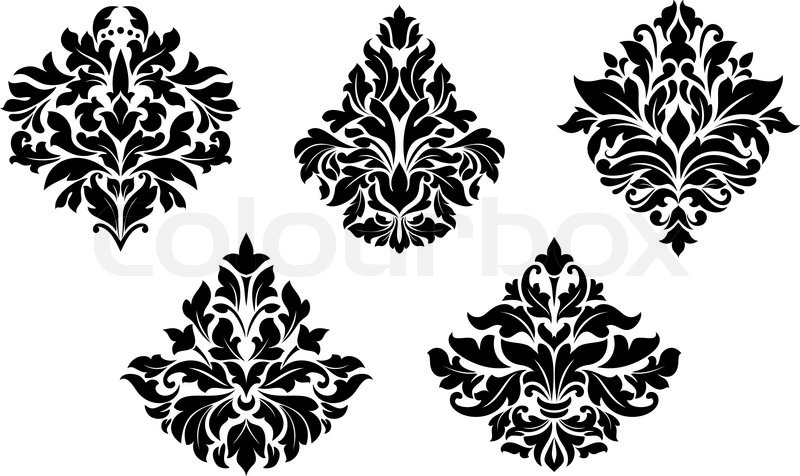 800x476 Vintage Floral Design Elements In Damask Style Stock Vector