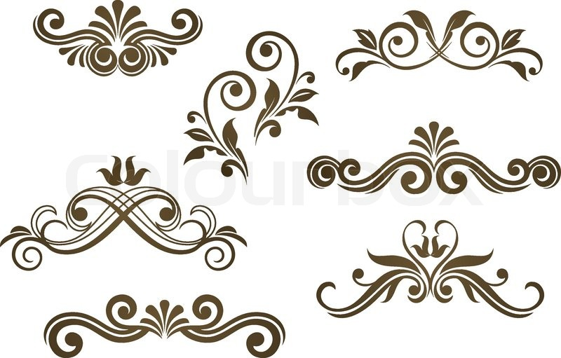 800x511 Vintage Floral Motifs For Design Isolated On White Stock Vector