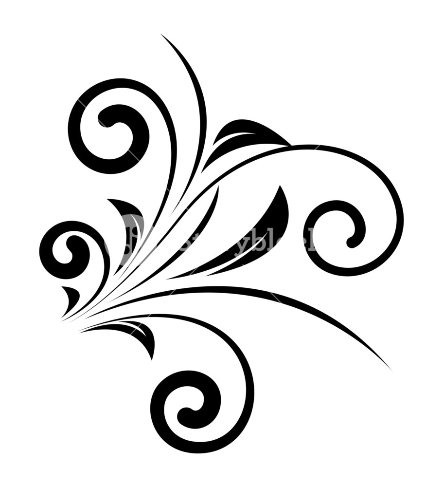 911x1000 Decorative Swirl Floral Design Vector Royalty Free Stock Image