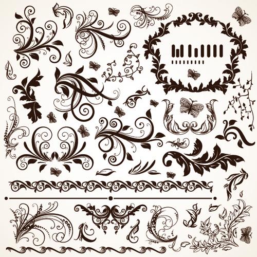 500x500 Floral Design Ornaments Elements Mix Vector 01 Free Download