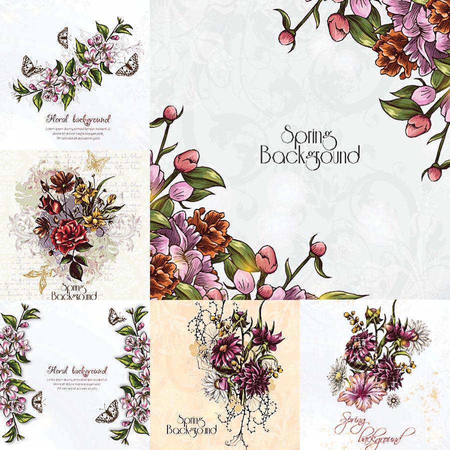 900x900 Floral Spring Background Frames Vectors Free Download