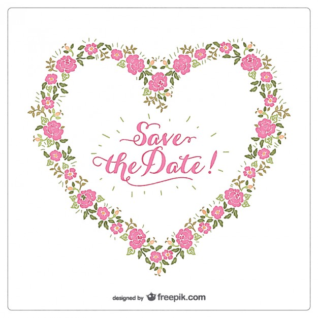 626x626 Floral Heart Invitation Vector Free Download