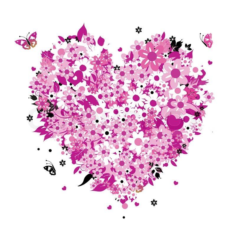 800x800 Floral Heart Shape Stock Vector Colourbox