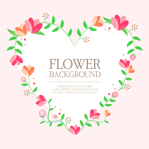 500x500 Flower Background With Heart Vector Material Free Download