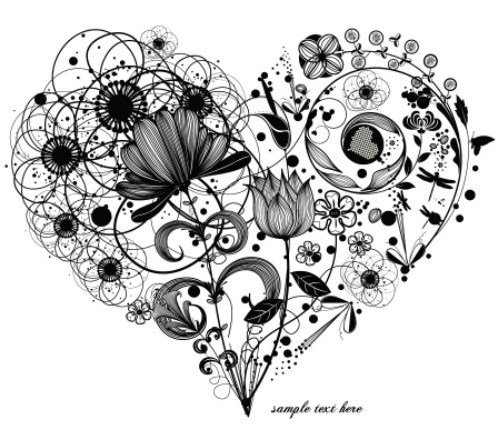 500x446 Free Vintage Floral Heart Vector 02