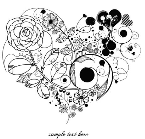 461x444 Free Vintage Floral Heart Vector 04