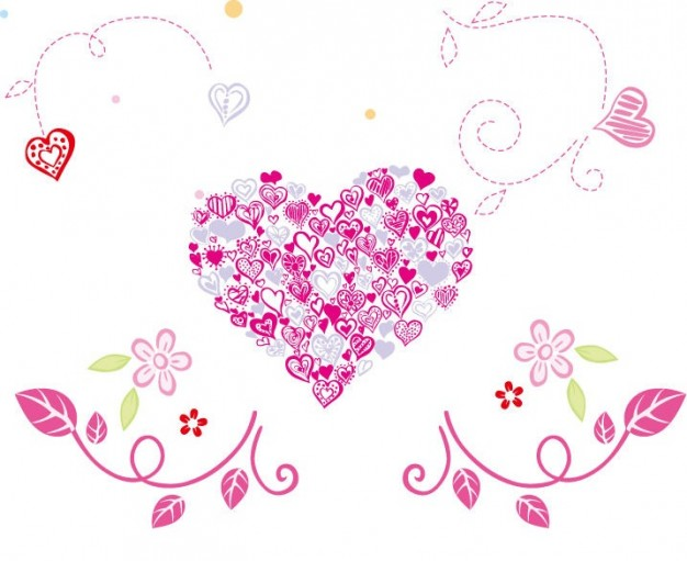 626x511 Free Beautiful Floral Heart Vector Illustration Vector Free Download