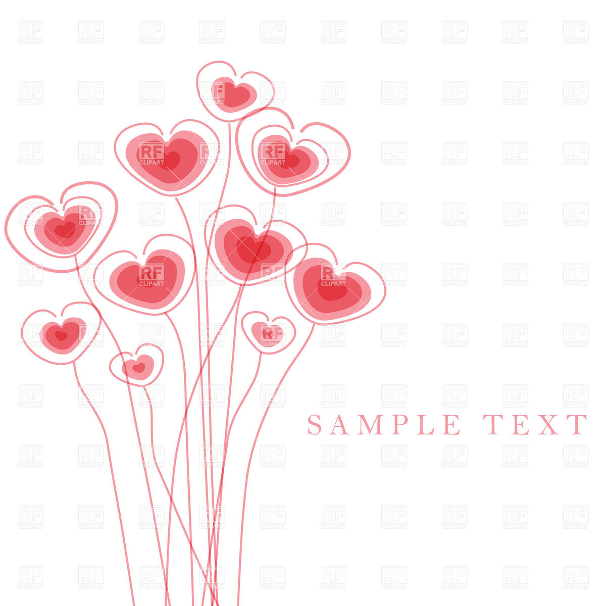 1200x1200 Greetings Card With Floral Hearts Vector Image Vector Artwork Of