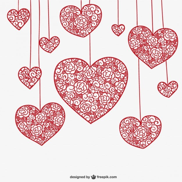 626x626 Hanging Floral Hearts Free Vector 123freevectors
