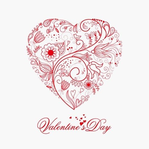 487x486 Beautiful Greeting Floral Heart, Vector Images