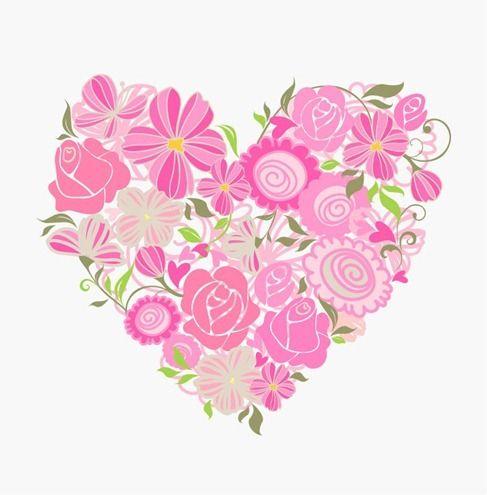 487x495 Pink Floral Heart Vector Graphic Resources Vectors
