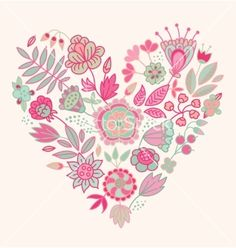 236x248 Pink Floral Heart Vector Graphic Rose