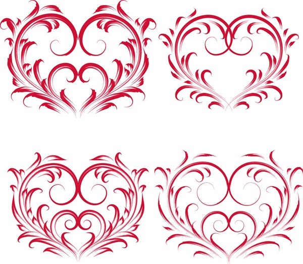600x523 Red Valentine Floral Heart Vector Graphics Free Design 4 All