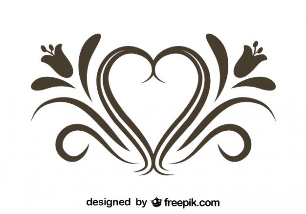 626x437 Retro Floral Heart Ornamental Graphic Element Vector Free Download