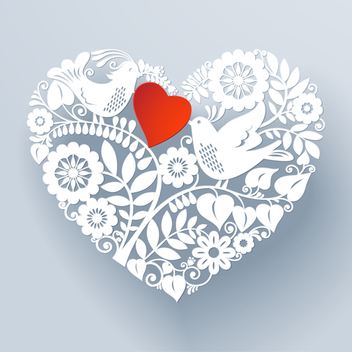 500x500 Romantic Birds With Floral Hearts Vector 02 Free Download