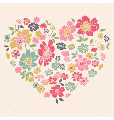 380x400 Romantic Card With Floral Heart Vector