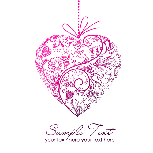 500x500 Set Of Floral Heart Elements Vector 01 Free Download