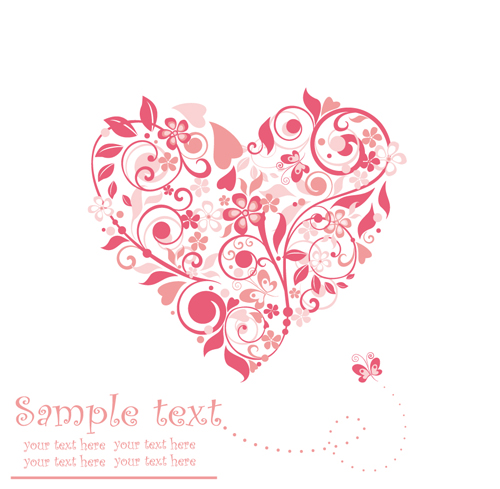 500x489 Set Of Floral Heart Elements Vector 02 Free Download
