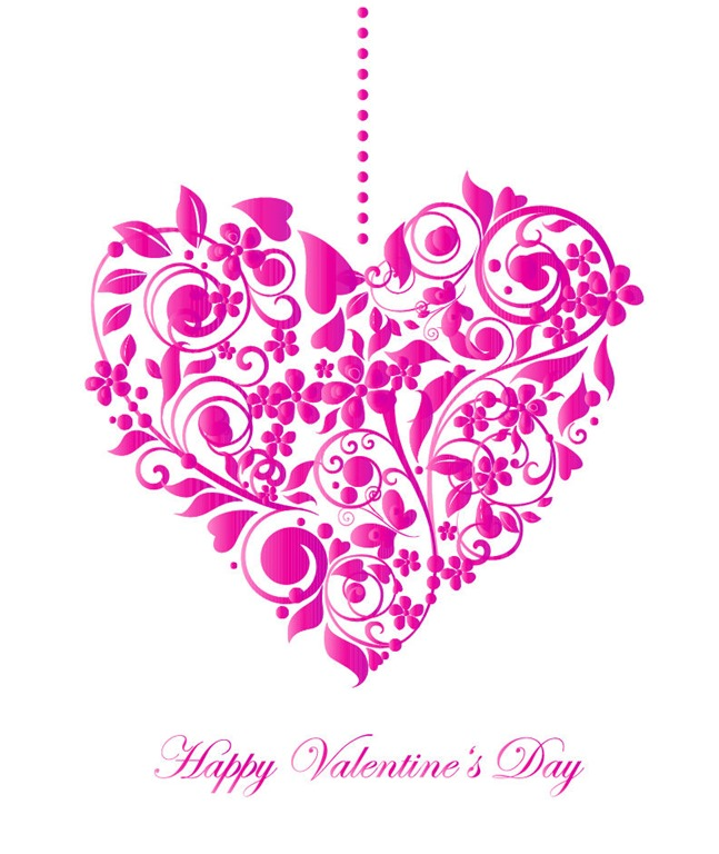 647x768 Valentine Card With Floral Heart Shape Vector Illustration Free