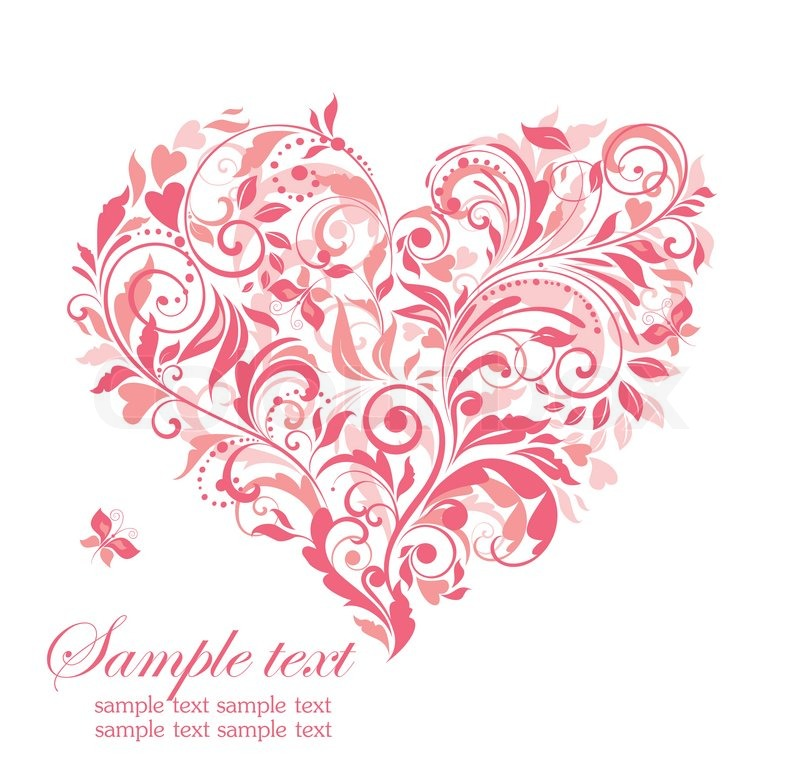 800x783 Beautiful Greeting Card With Pink Floral Heart Stock Vector
