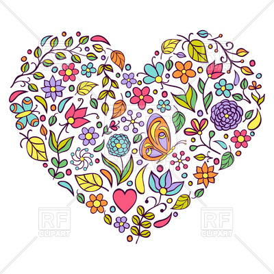 400x400 Colorful Hand Drawn Floral Heart Vector Image Vector Artwork Of