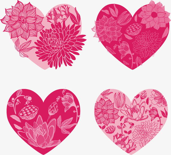 570x518 Floral Heart Set, Floral Vector, Heart Vector, Heart Clipart Png