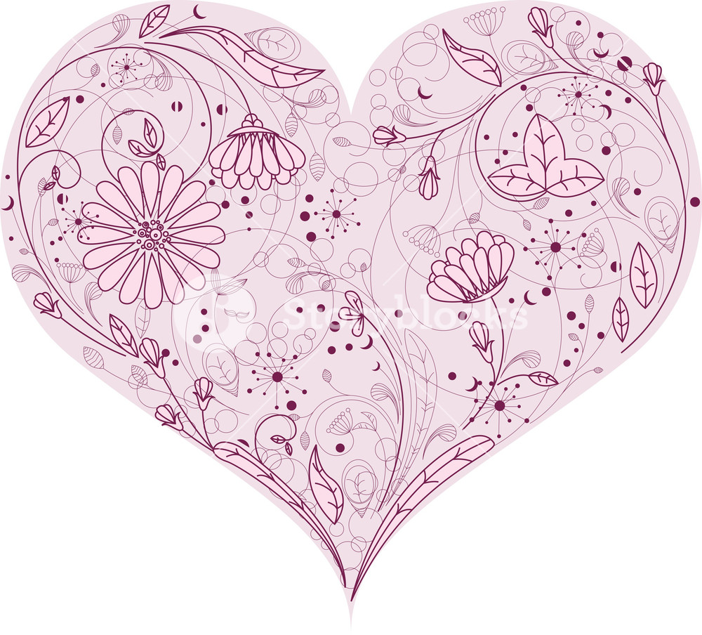 1000x904 Floral Heart Vector Element Royalty Free Stock Image
