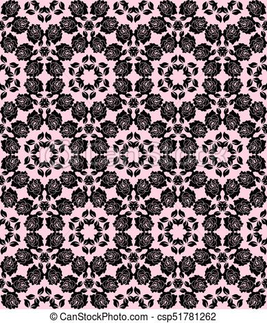 389x470 Floral Lace Pattern. Seamless Black Floral Lace On A Pink Background.