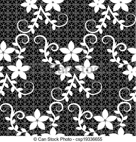 450x469 Floral Lace Pattern. Seamless Lace With Floral Pattern On A Black