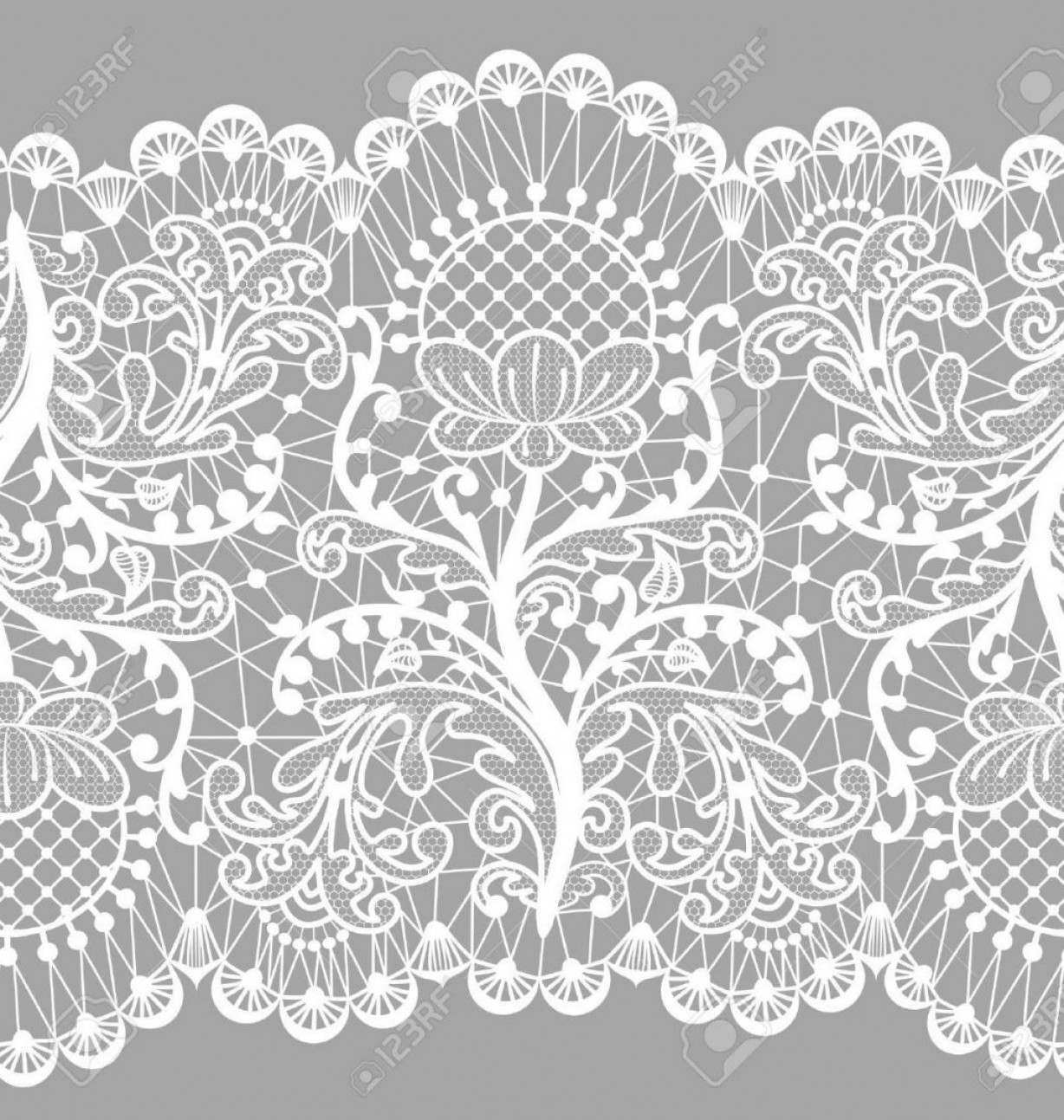 1228x1293 Hd Seamless Floral Lace Border On Gray Background Stock Vector