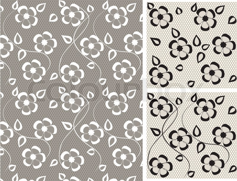 800x611 Seamless Lace Floral Pattern On Gray Background Stock Vector