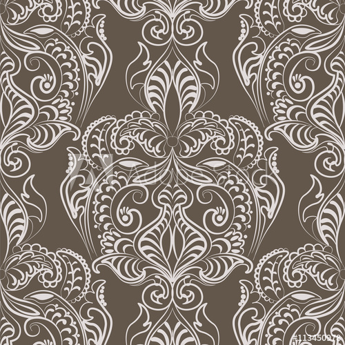 500x500 Vector Floral Lace Pattern In Oriental Style. Ornamental Lace