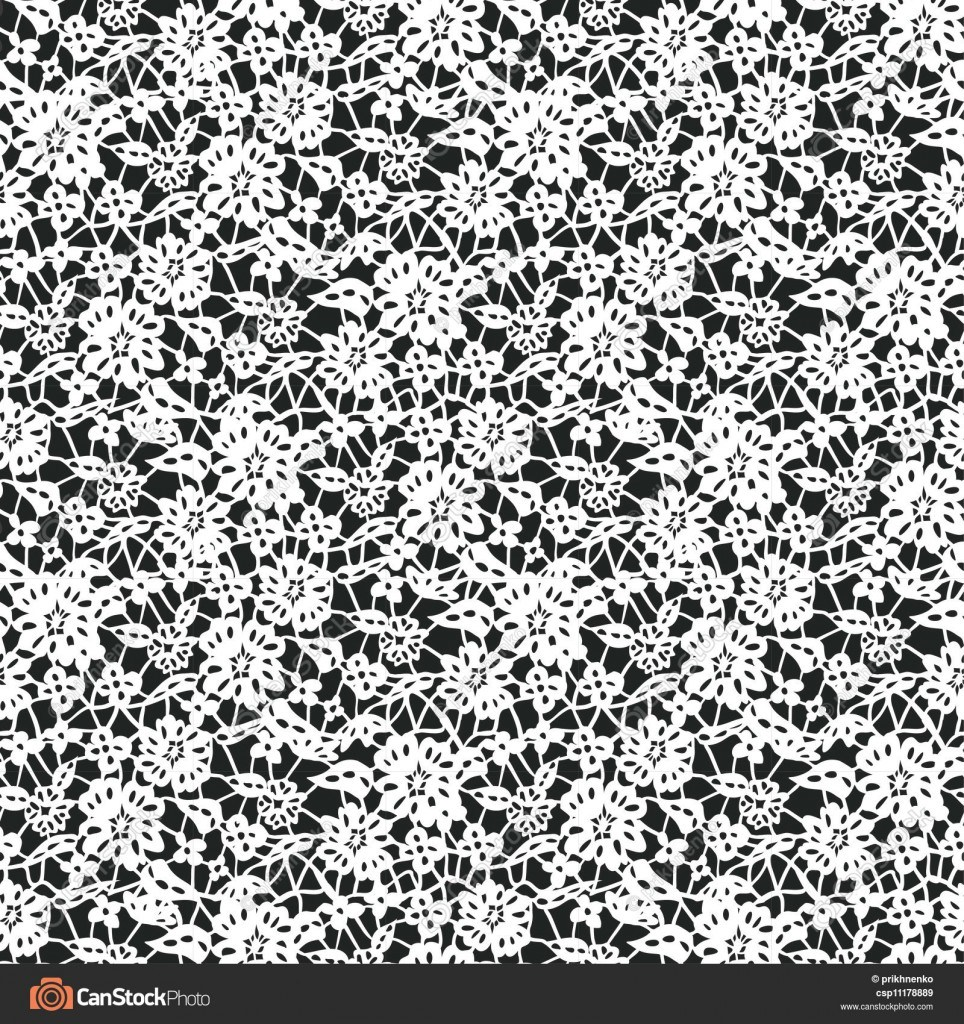 964x1024 White Seamless Lace Floral Pattern On Black Background Vector