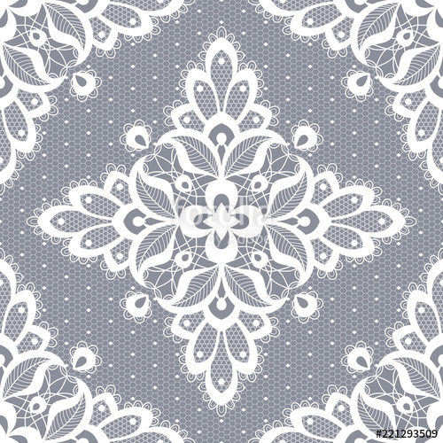 500x500 White Floral Lace Seamless Pattern. Vector Illustration Stock