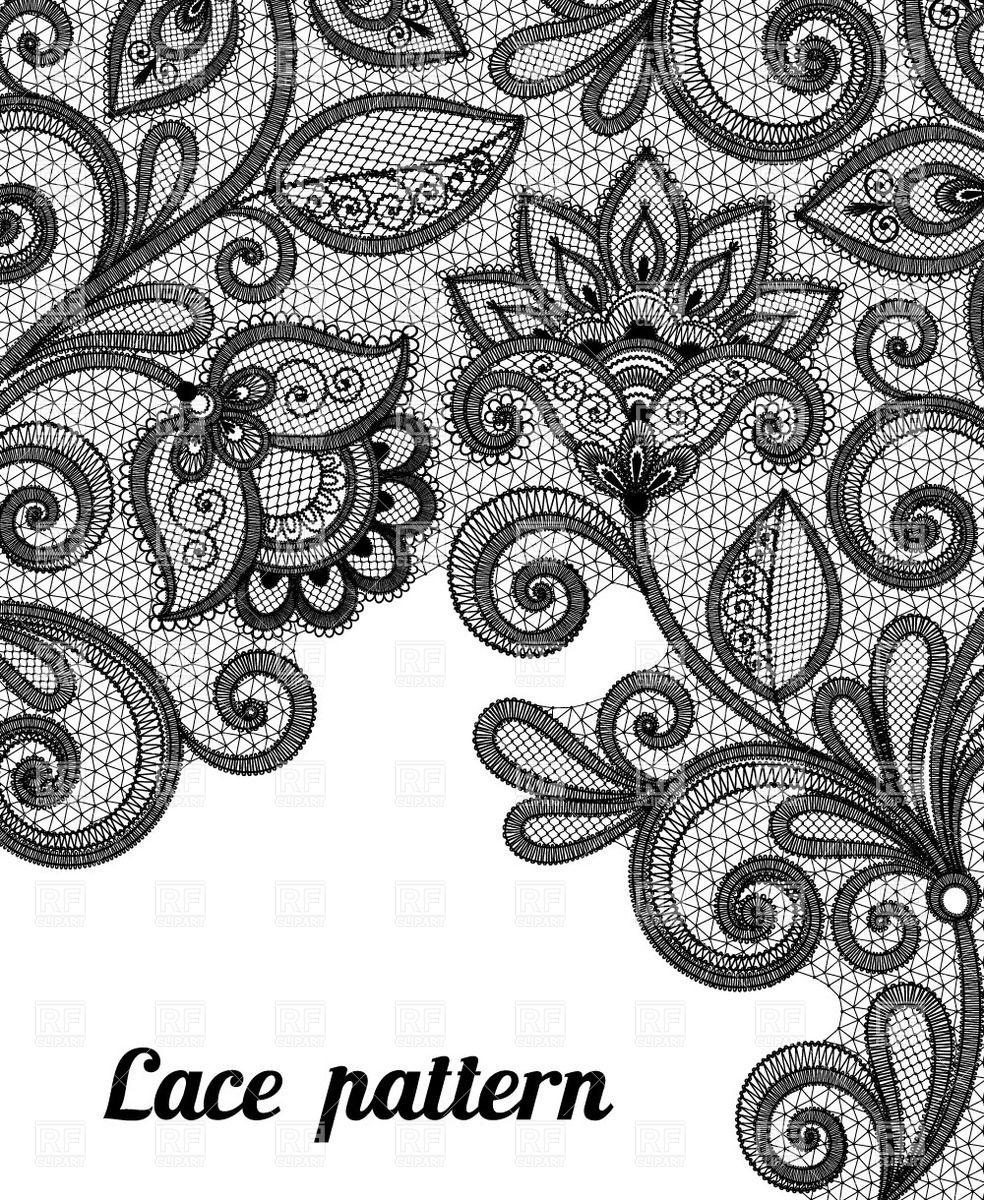 984x1200 Floral Black Lace Pattern Vector Image Vector Artwork Of